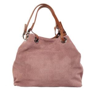 Világos rózsaszín bőr táska