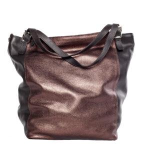 Fémes csillogású bőr táska