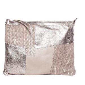 Rózsaszín - ezüst bőr táska