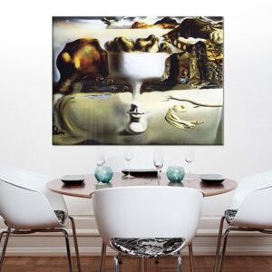 Vászonkép APPARITION ON FACE AND FRUIT DISH ON A BEACH  - Salvador Dalí REP117
