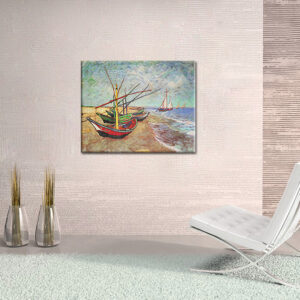 Vászonkép FISHING BOATS ON THE BEACH AT SAINTS-MARIES - Vincent van Gogh REP125