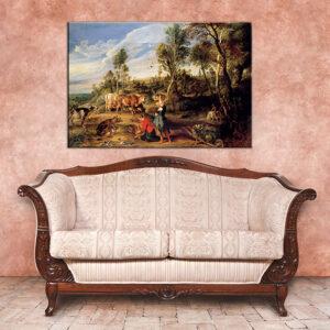 Vászonkép MILKMAIDS WITH CATTLE IN A LANDCAPE - Peter Paul Rubens REP154