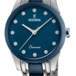 Női karóra Festina Ceramic 20499/2 - A számlap színe: kék