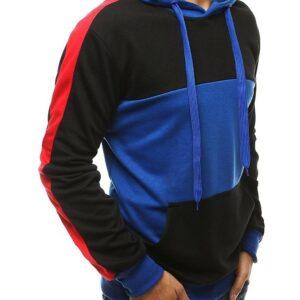 Kék-fekete férfi kapucnis pulóver✅ - Basic