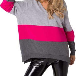 Női szürke-rózsaszín-sötétszürke pulóver
