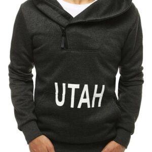 Férfi sötétszürke pulóver felirattal✅ - Basic