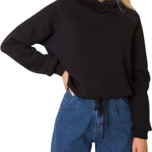fekete női kapucnis pulóver✅ - Basic