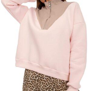 Női világos rózsaszín pulóver rövid cipzárral✅ - RUE PARIS