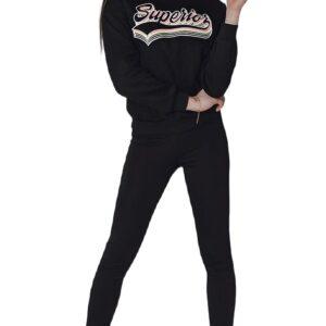 fekete női pulóver felirattal✅ - Basic