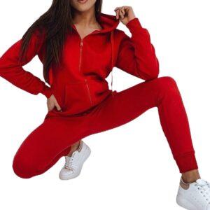 piros női kapucnis pulóver✅ - Basic