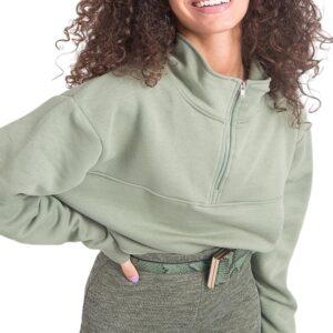 Világoszöld női pulóver cipzárral✅ - By Sally