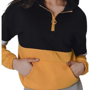 fekete-sárga női pulóver cipzárral✅ - Basic