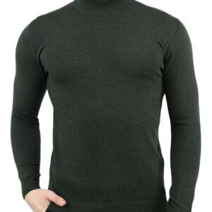 Khaki férfi vékony kötött pulóver álló gallérral✅ - LIWALI