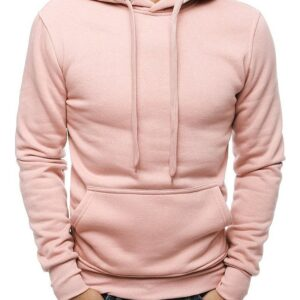 Világos rózsaszín férfi kapucnis pulóver✅ - Basic