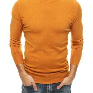 Sötét narancssárga férfi pulóver kerek nyakkivágással✅ - Basic