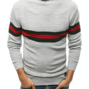 szürke pulóver garbó csíkokkal✅ - Basic
