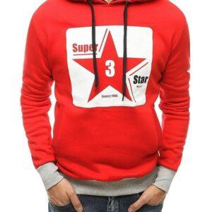 piros férfi pulóver csillagnyomással✅ - Basic