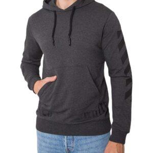 Sötét szürke pulóver mintás ujjú✅ - Basic