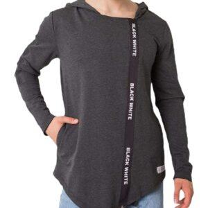 Sötét szürke aszimmetrikus pulóver betűkkel✅ - Basic