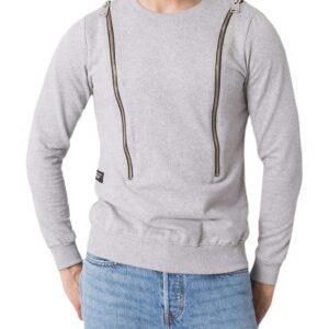 Világosszürke férfi pulóver cipzárral✅ - Basic