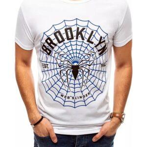 Fehér férfi póló pókhálós nyomtatással✅ - Basic