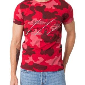 piros férfi camo póló✅ - Basic