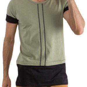 Khaki férfi póló csíkokkal✅ - MECHANICH