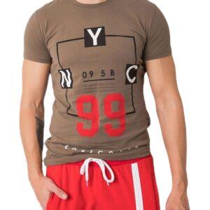 Khaki férfi póló nyomtatással✅ - Basic