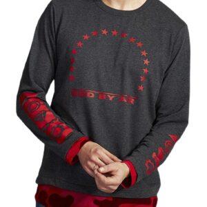 szürke-piros póló nyomtatással✅ - MECHANICH