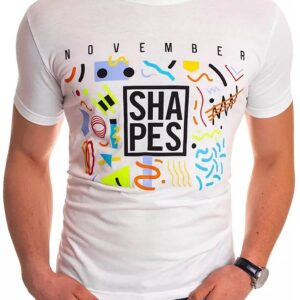 Fehér férfi póló nyomtatott formákkal✅ - Basic