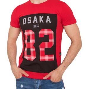 piros férfi póló nyomtatással✅ - Basic