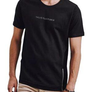 fekete férfi póló felirattal és cipzárral✅ - Basic