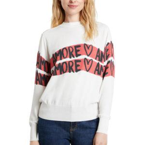 Desigual fehér pulóver Amore Amore - XXL - Desigual✅