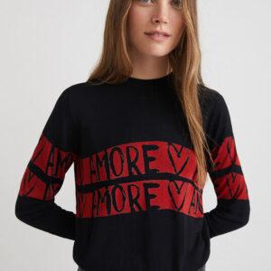 Desigual fekete könnyű pulóver Amore Amore - XXL - Desigual✅