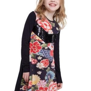 Desigual fekete lányos ruha Vest Minatitlán szines motívumokkal  - 3/4 - Desigual✅