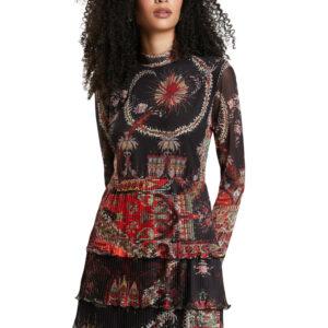 Desigual fekete mintás ruha Berlin - XS - Desigual✅
