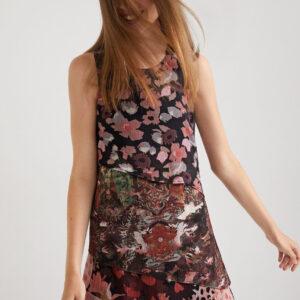 Desigual fekete virágmintás ruha Dalia - XL - Desigual✅