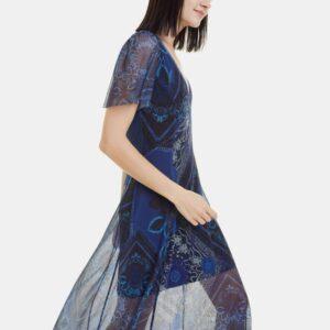 Kék mintás ruha Desigual Terry - XS - Desigual✅